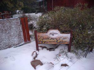 cartel de cabaña Ayutun Hue nevado